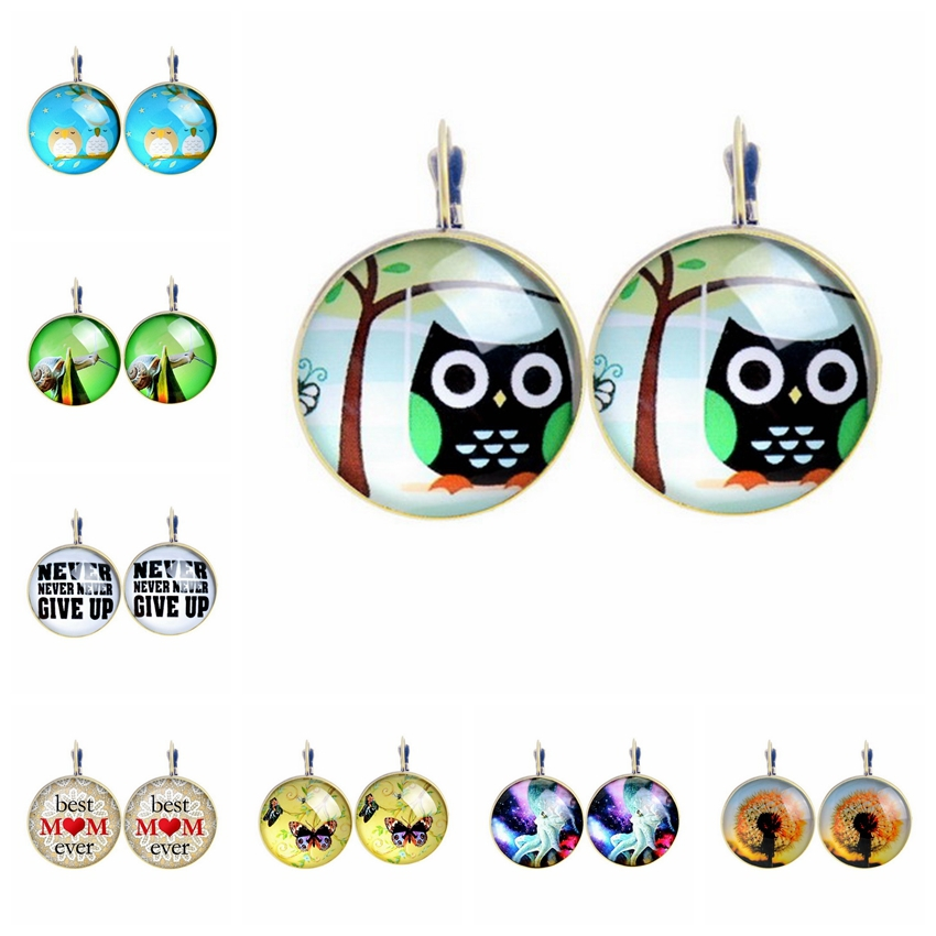 Vintage Cute Animal Tree Stud Earrings For Women Glass Cabochon Letter Pendientes Retro Owl Earring Lovely Dome Brincos Perola(China (Mainland))