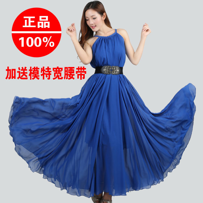 2014 summer star style chiffon one-piece dress beach expansion bottom plus size bohemia spaghetti strap full - SOCK & BEAUTY store