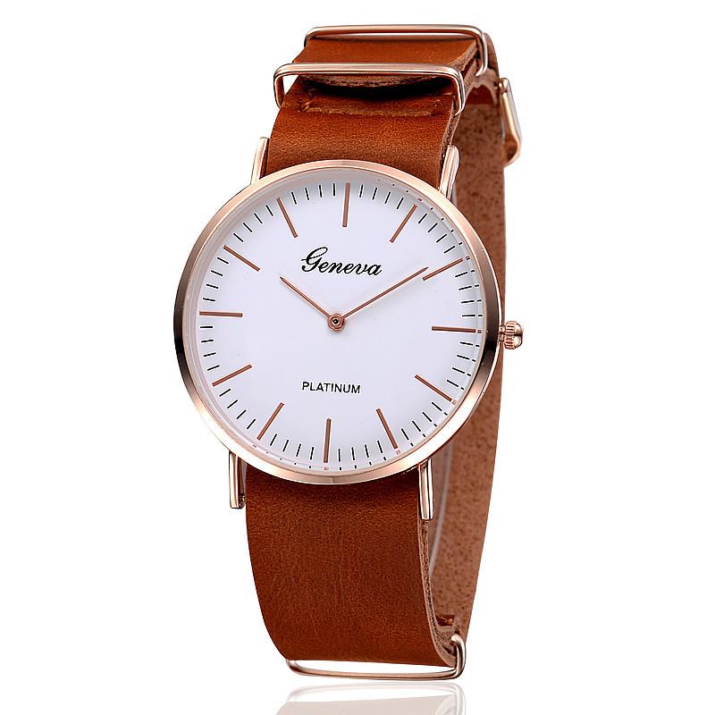 3 Colors New Arrival Watch Women Geneva Watch Fashion Wristwatch PU Leather Band Quartz Clock Platinum Case Relogios(China (Mainland))