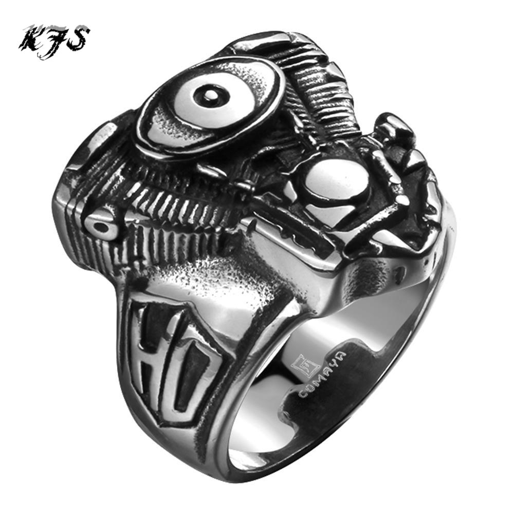 2016 New Hot Men's boys Motorcycle Punk Ring Engine Rumble 316L Stainless Steel Biker Racer Rider Mechanic Ring(China (Mainland))