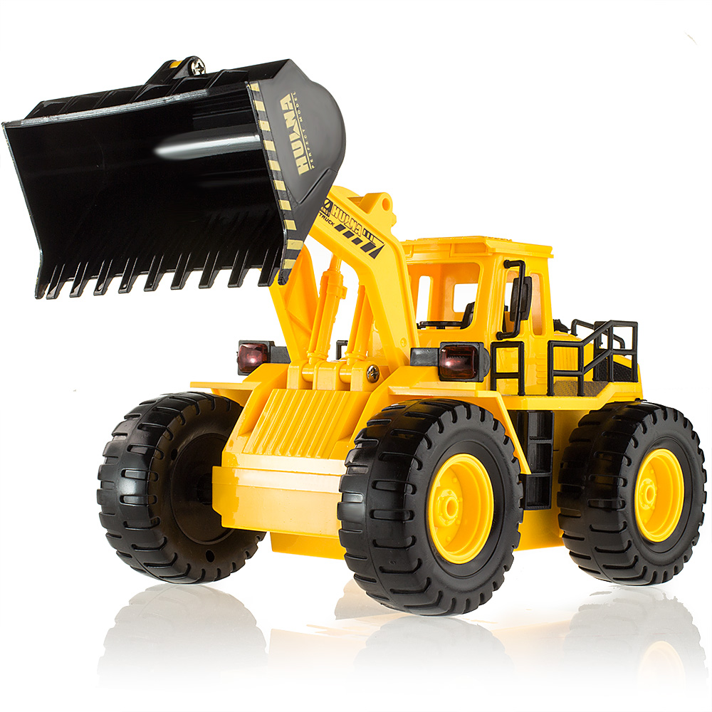 Wireless RC alloy engineering car model chargeable electric toy car remote control bulldozer toy excavation car, Free Shipping(China (Mainland))