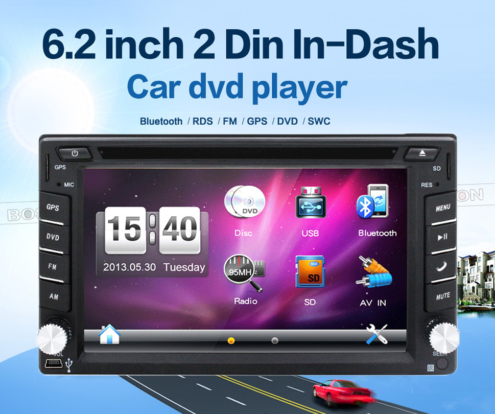Car Electronic auto 2din car dvd player GPS Radio Tuner PC Video Monitors for universal RDS Bluetooth digital tv (option)(China (Mainland))
