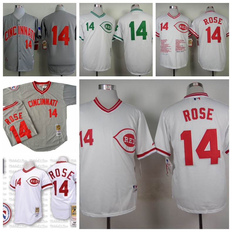 Wholesale Men's Baseball Jerseys Cheap Cincinnati Reds #14 Pete Rose Jerseys White 1990 Turn Back The Clock NWT,Embroidery Logos(China (Mainland))