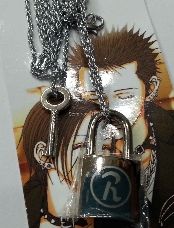 Cartoon Ai Yazawa NANA lover's 2pcs/set metal fashion alloy cool key&lock pendants cosplay costume accessories prop necklace - Moonsytoy store