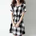 New Hot fashion summer Korean Harajuku black and white plaid cotton cultivating wild loose casual dress