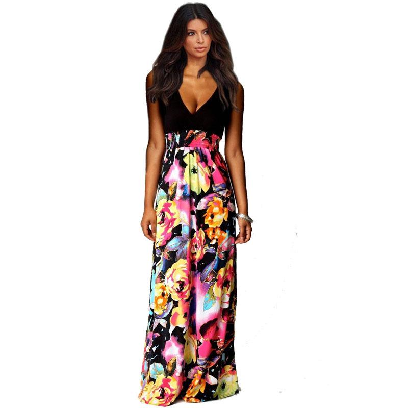 2015 Brand NEW Summer Style Womens Floral Print Chiffon Long Dresses V-Neck Beach Boho Maxi Sundress Plus Size KN-F853 - KingSun Super Cool Days Women Garment Store store