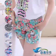 2015 New Girls Summer Short Pant Sweat Lovely Floral Grip Children Trousers Freeshipping(China (Mainland))