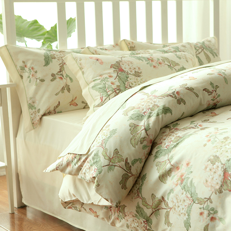 Butterfly Rural Flower Bedding Digital Print Girls Wedding Bed Set Elegant French Country Duvet