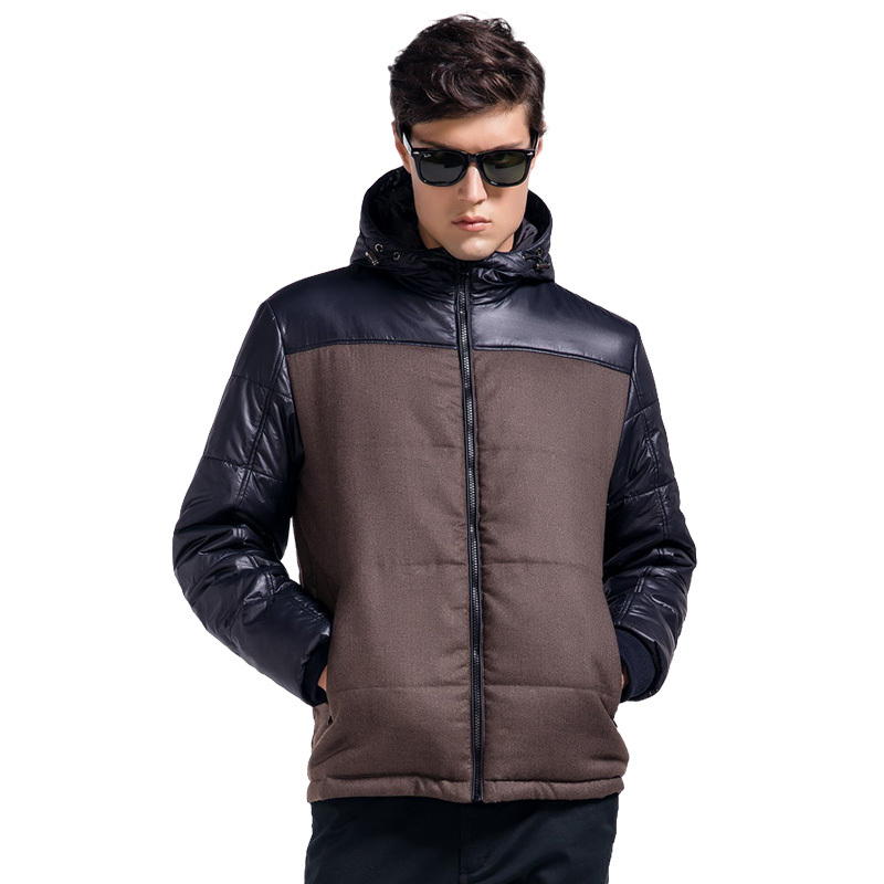 Lesmart Men's Winter Coat Jacket New Brand Contrast Color Patchwork Padded Fashion Casual Business Thicken Hooded Outerwear - Qingdao Textile Co., ltd store
