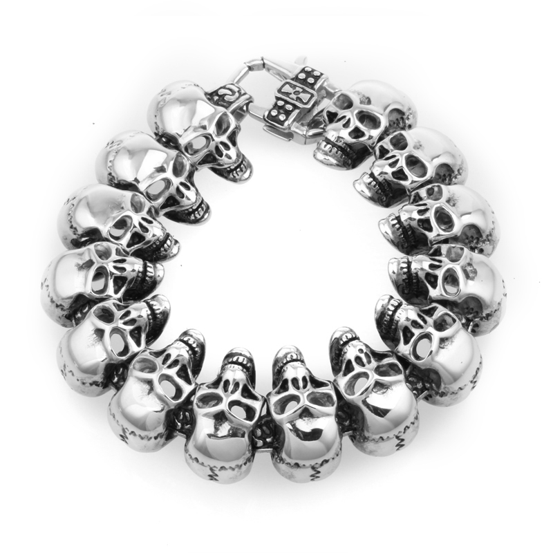 Fashion skull bracelet Stainless Steel Men Fine Jewelry 2015 Bracelets & Bangles Pulseras Hombre Bracciale Pulseira Masculina - WZQ Watches Jewellery store