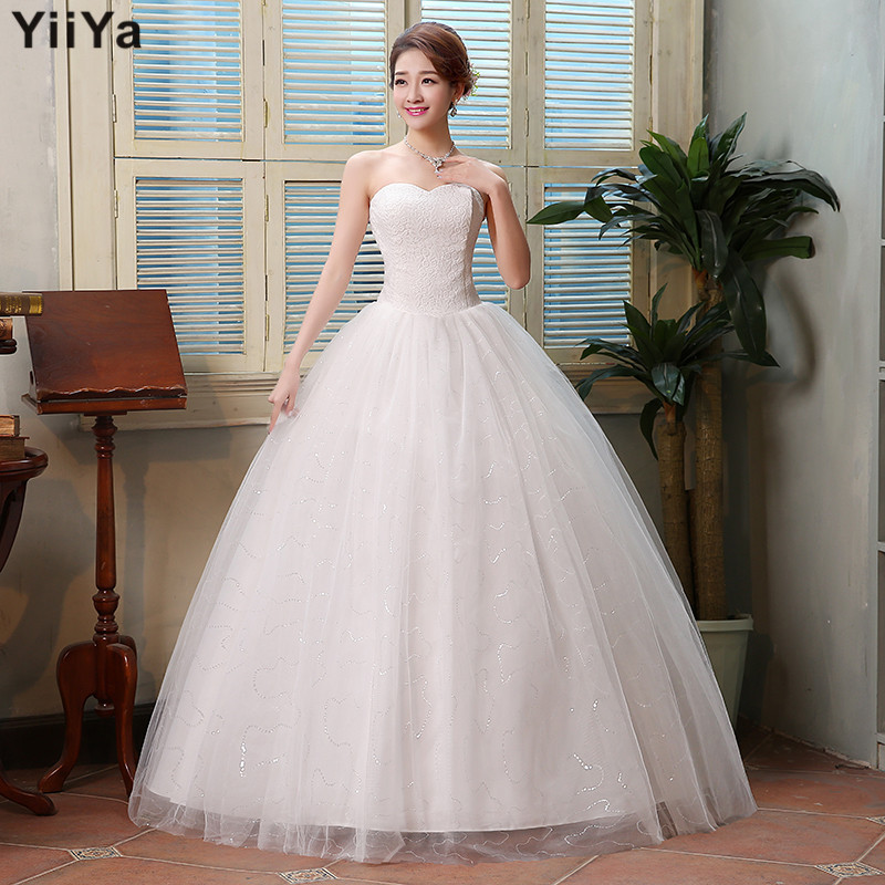 Free shipping 2015 new cheap wedding gown white lace for Cheap wedding dress under 50