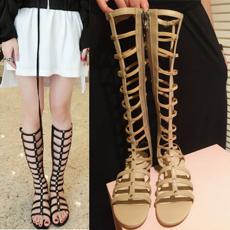 Black / Khaki Free Shipping 2015 Summer Women's flat Mid-Calf Boots Brand Design Full Grain Leather Rome Style Sandals for women(China (Mainland))