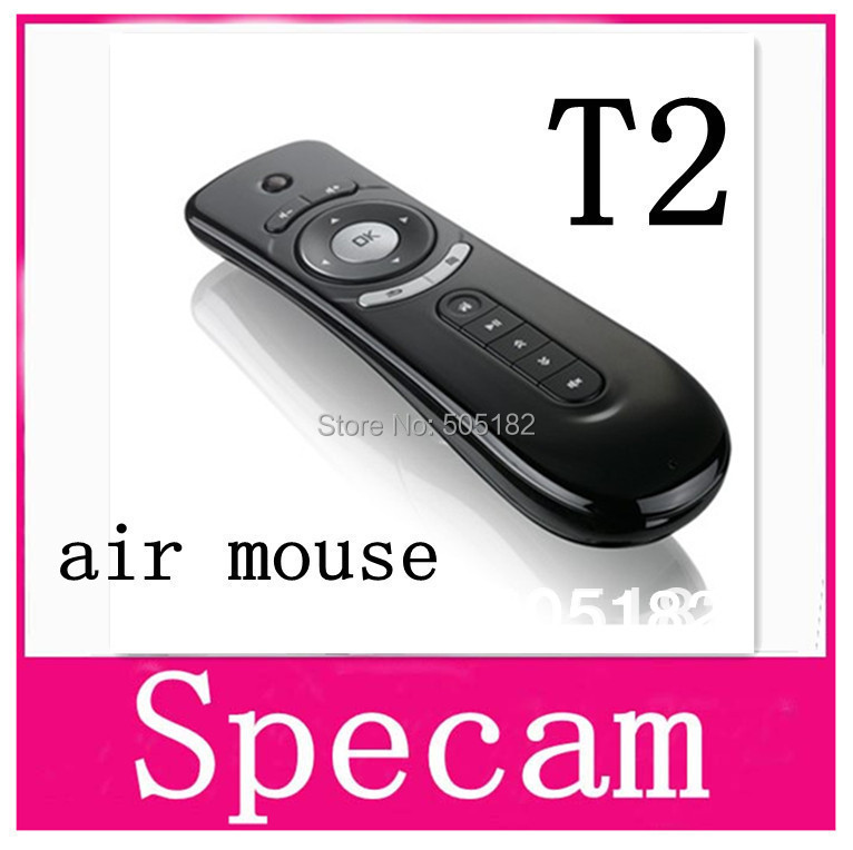 Freeshipping Gyroscope mini Fly Air Mouse T2 2.4G Wireless Keyboard Mouse Android remote control 3D Sense Motion Stick For TVBox(China (Mainland))