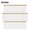 Kicute 50pcs pack Hot 20ml Transparent Plastic Test Tubes With Corks Stoppers Laboratory School Educational Suppy