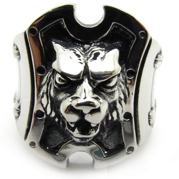 Angry Wolf Lion King Knight Shield Ring, Cool Men Fashion Animal Dog Rock Ring Jewelry Size 8,9,10,11,12,13