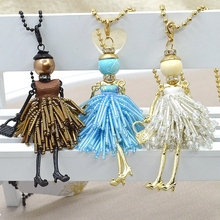 2015 Fashion Jewelry ! Doll Necklace Pendants Charms Free Shipping Women Accessories Female Crystal Beads DIY Jewelry NS252