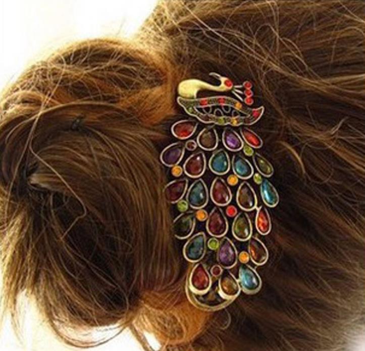 Free Shipping 1 Pcs New Fashion Ladies Vintage Colorful Rhinestone Peacock Barrette Hairpin Hair Clip(China (Mainland))