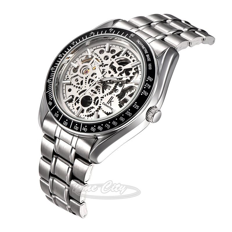 2016 Super Glow Gear IKcolouring Men Self Wind Automatic Mechanical Watch Skeleton Hollow Steel Strap Fashion New Wrist watches