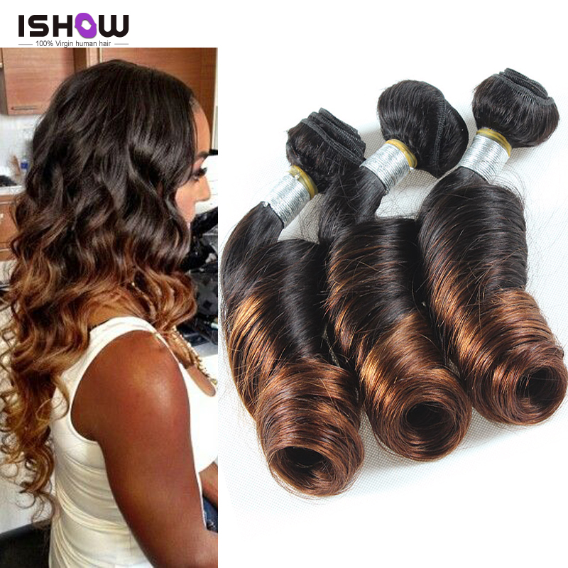 8A Ombre Peruvian Spring Curl Virgin Hair Two Tone Hair Bundles Ombre Peruvian Spiral Curly Virgin Hair Ombre Hair Extension(China (Mainland))