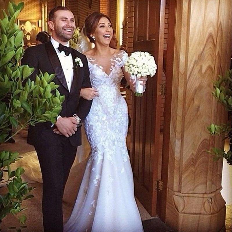 2016 мода романтический новинка роскошный аппликация русалка сексуальная видеть сквозь элегантный кружева свадебное платье