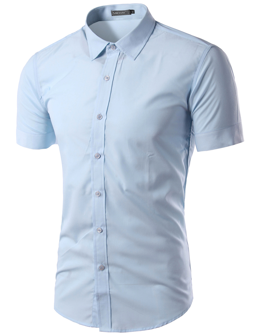 Free Shipping 2016 Mens Slim Fit Unique Neckline Stylish Dress short Sleeve Shirts Mens dress shirts