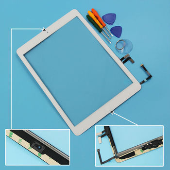 White Color For ipad Air Touch Screen Digitizer assembly with home button+flex cable for ipad air 5 5th Generation Free Tools