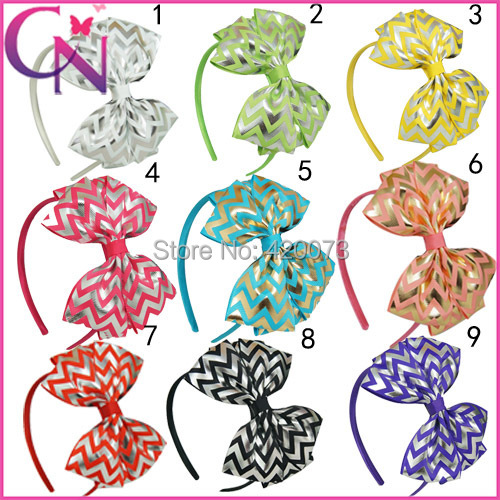 Free Shipping 30 Pcs/lot Sliver Chevron Hairband Headband,Baby Chevron Hairband Headband With Bow,Kids Chevron Hair Accessories(China (Mainland))