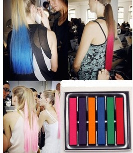 Factory Directly Wholesale Beauty 6 PCS Convenient Temporary Super Hair Dye Colorful Chalk Hair Color Alcohol-Free chalks(China (Mainland))