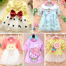Baptism Limited Chiffon Dresses For Girls Free Shipping 2016 New Baby Clothing Girl's Pretty Long Sleeve Princess Dress A087-5(China (Mainland))