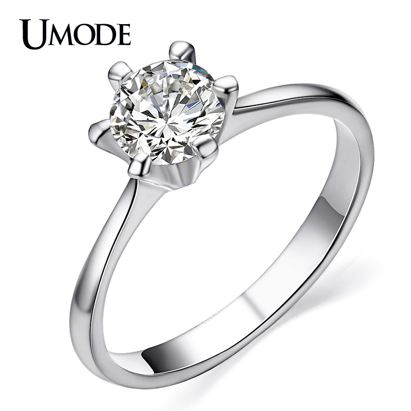 UMODE Platinum Plated Classic Simple Design 6 Prong Sparkling Solitaire 1ct Zirconia Diamond forever Wedding Ring bijoux JR0012B(China (Mainland))