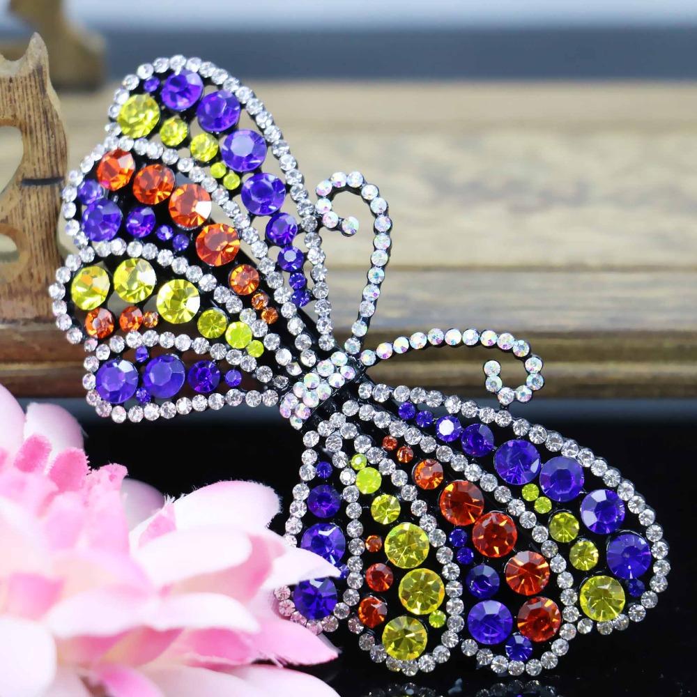 43*90mm Butterfly Wedding Headdress Headband Head Bands Headpiece Crystal Rhinestone Hair Clip Bows Bowknot Accessory(China (Mainland))