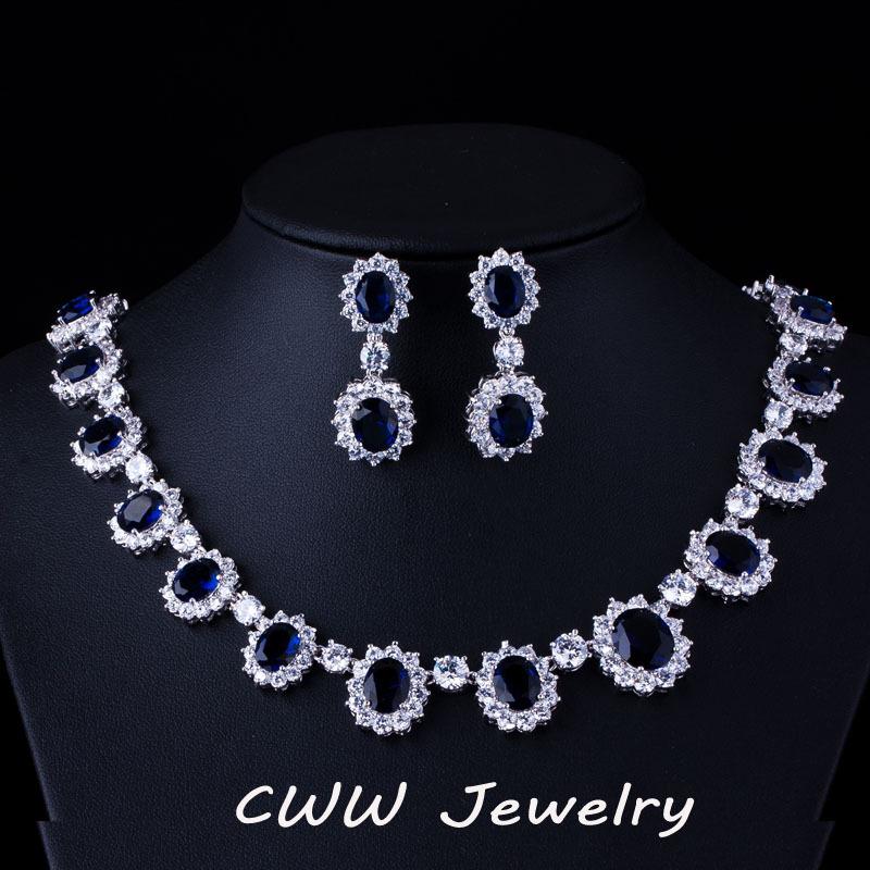 Gorgeous Micro Inlay Full CZ Diamond Around Dark Blue Sapphire Oval Shape Crystal Flower Jewelry Sets Women T159