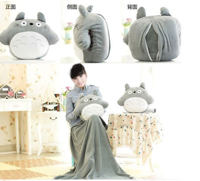 Round Totoro doll pillow 33 * 38cm, blanket 95 * 75cm Baby blanket cute plush toys Christmas gift Adult Cushion(China (Mainland))