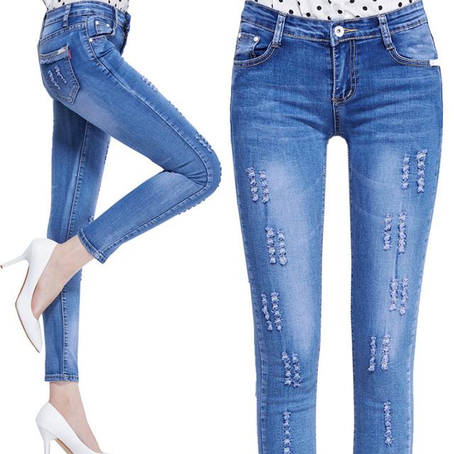 2016 завышенной талией узкие плотно с джинсы карандаш разорвал джинсовые брюки Большой ...