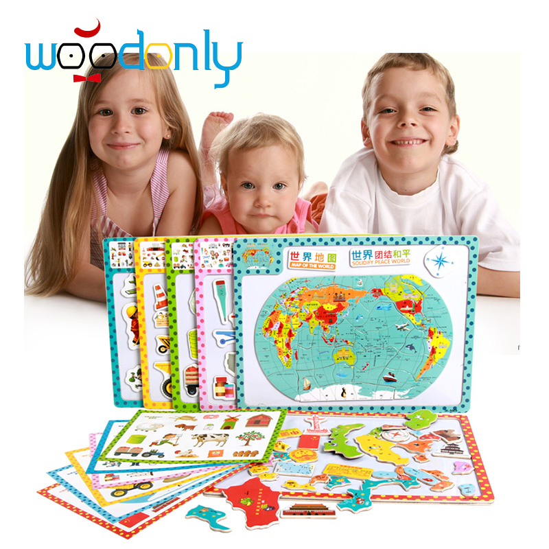 Wooden Magnetic Puzzle Board 3D Learning Animal Building Tool map Educational Kids Toys(China (Mainland))