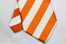 NT0102 Orange White Stripe Multicolor Smooth Jacquard Woven Classic Silk Polyester Man s Business Luxury Tie