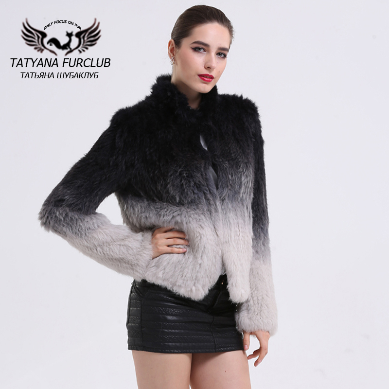 Winter Knitted Rabbit Fur Coat,Thick Knit Plus Size Fur Outwear,Real Rabbit Fur Jacket,Genuine Gradient Coat For Female BF-C0014(China (Mainland))