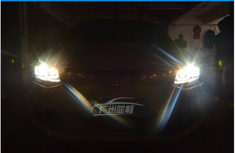 Auto Clud For VW polo headlights U angel eyes DRL 2011-2015 For VW polo LED light bar DRL Q5 bi xenon lens h7 xenon car styling