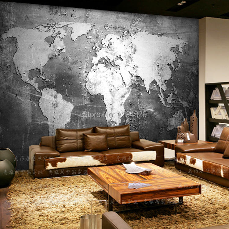 3d retro nostalgia old wall world map large mural for Home wallpaper world map