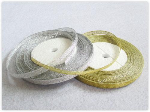 DIY W6mm Metallic Glitter Ribbon craft gift decoration - mixed gold & silver 10rolls/lot LWR0030 Elegant Stuffs store