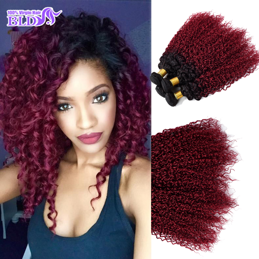 Red Curly Weave Burgundy Curly Brazilian Hair Kinky Curly