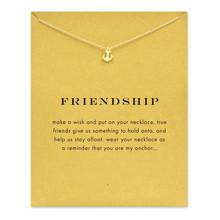 Écorné mousseux amitié ancre d'or plaqué collier pendentif Anchor collier de déclaration de mode pour femmes bijoux ( a carte )(China (Mainland))