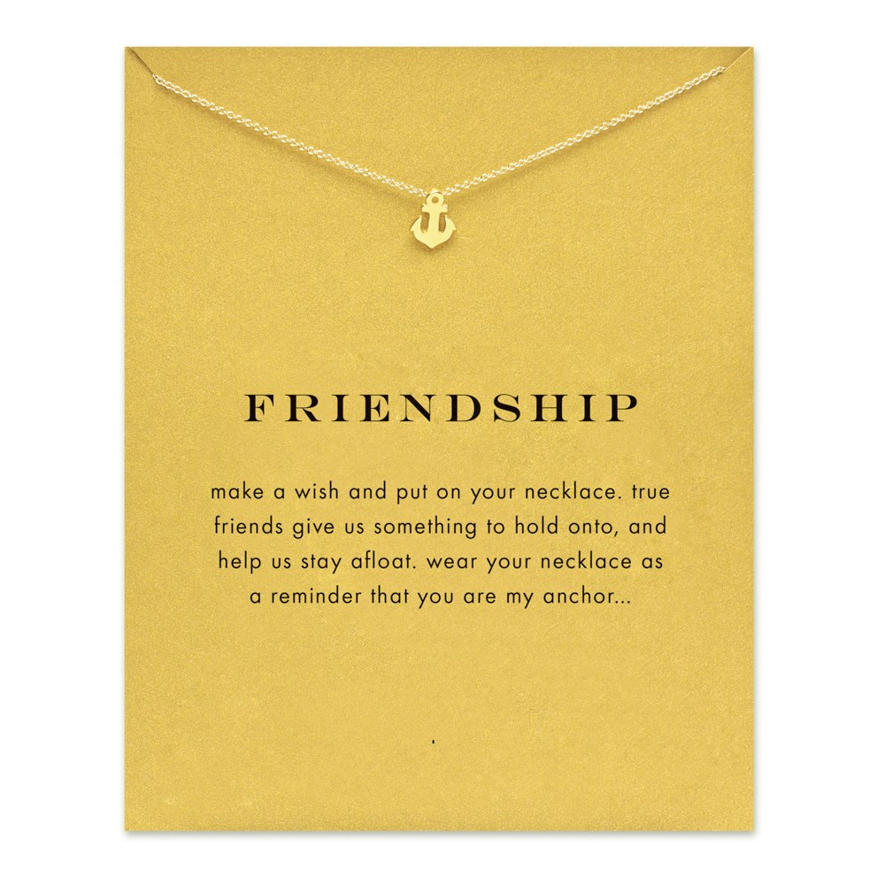 Dogeared Sparkling friendship Anchor gold plated Pendant necklace Anchor Fashion Statement Necklace For Women Jewelry Has