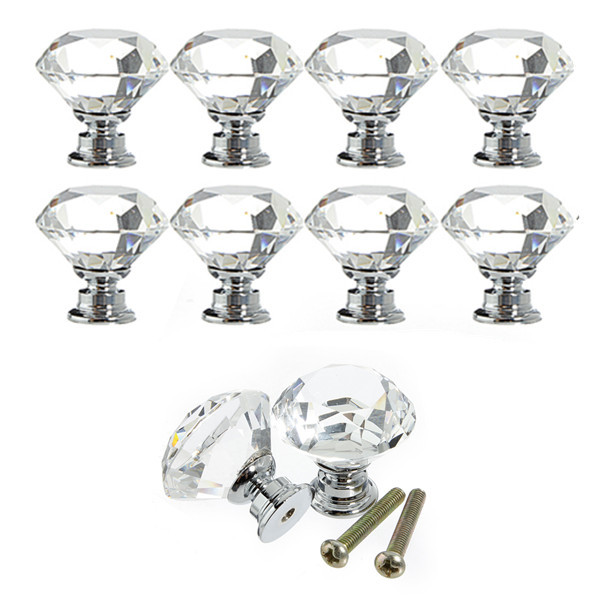 10Pcs 30mm Diamond Shape Crystal Glass Door Drawer Cabinet Pull Handle Knob Screw Home Furniture Hardware(China (Mainland))