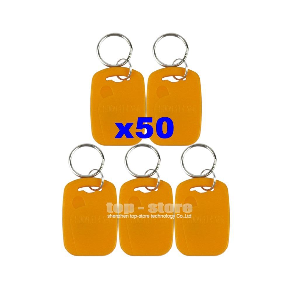 DIYSECUR 50pcs/lot For Access Control Use 125Khz RFID Proximity ID Card Keyfobs Yellow Color(China (Mainland))