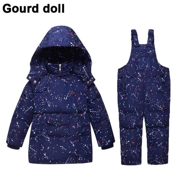 Детские мальчики девочки зимняя одежда набор 90% сгущает вниз перо снег носить малыша комбинезоны детская вниз и парки Подходит 10-24 месяцев