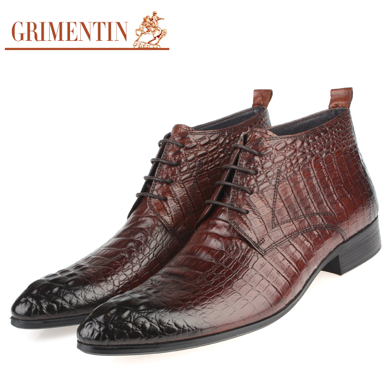 GRIMENTIN fashion luxury crocodile grain mens dress boots genuine leather lace up black brown elegant casual ankle botas zb123(China (Mainland))