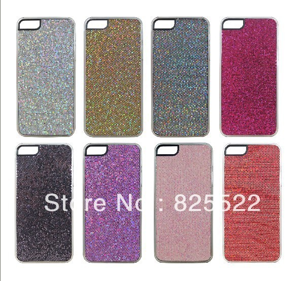 Free shipping 6 Colors Luxury Bling With Leather Case Cover , cell phone case for iPhone 5retail package+1 screen protector
