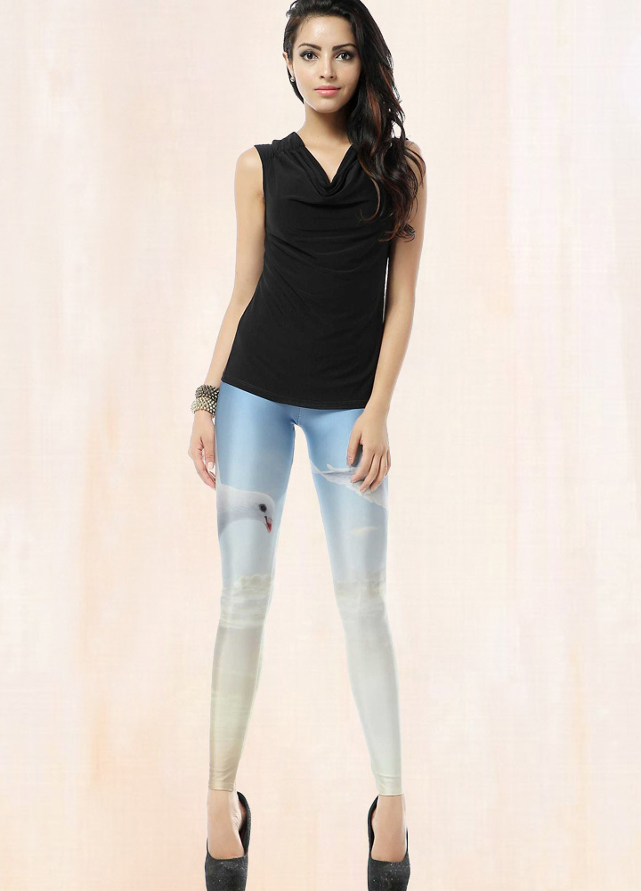 Sexy Womens Dove Printed Leggings free shipping worldwide sample accepted P30XDK097(China (Mainland))