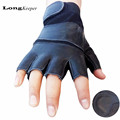 LongKeeper Genuine Leather Gloves for Men Half finger Black Winter luva Military mens Gloves Fingerless Guantes
